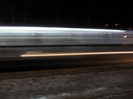 A tram passing in the night