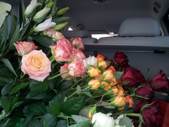 A car full of flowers